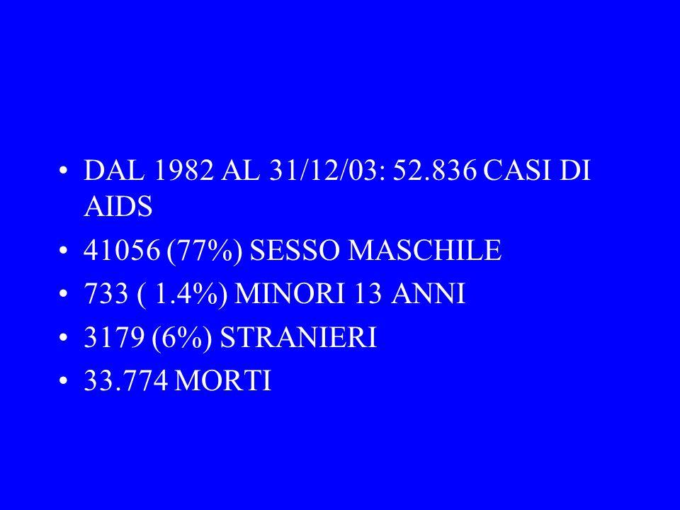 DAL 1982 AL 31/12/03: 52.836 CASI DI AIDS 41056 (77%) SESSO MASCHILE. 733 ( 1.4%) MINORI 13 ANNI. 3179 (6%) STRANIERI.
