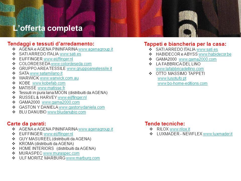 L'offerta completa Tendaggi e tessuti d'arredamento: