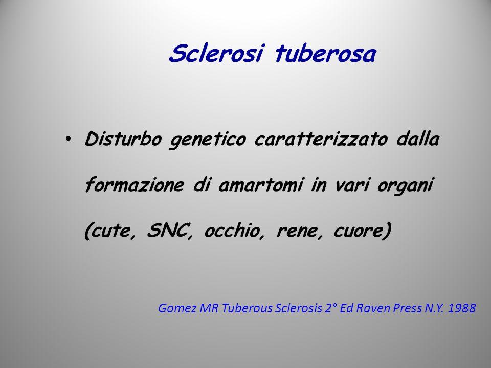 Sclerosi tuberosa Disturbo genetico caratterizzato dalla formazione di amartomi in vari organi (cute, SNC, occhio, rene, cuore)