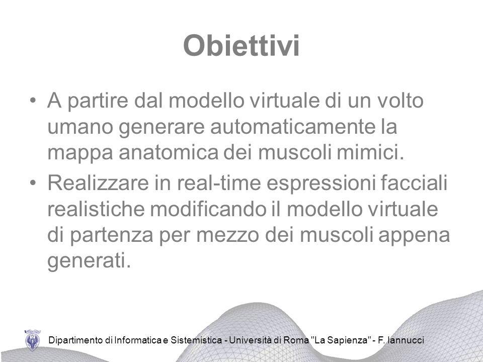 Obiettivi A partire dal modello virtuale di un volto umano generare automaticamente la mappa anatomica dei muscoli mimici.