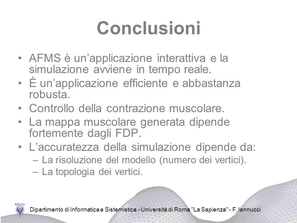 Conclusioni AFMS è un'applicazione interattiva e la simulazione avviene in tempo reale. È un'applicazione efficiente e abbastanza robusta.