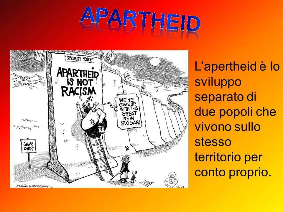 apartheid L'apertheid è lo sviluppo separato di due popoli che vivono sullo stesso territorio per conto proprio.