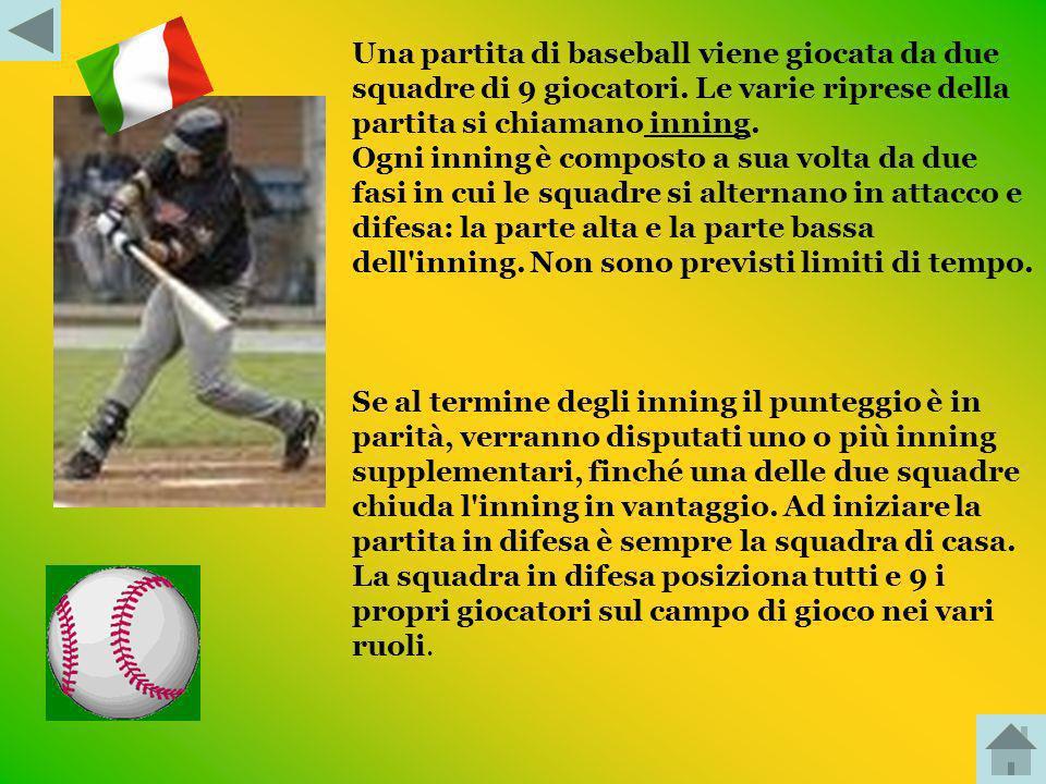 Una partita di baseball viene giocata da due squadre di 9 giocatori