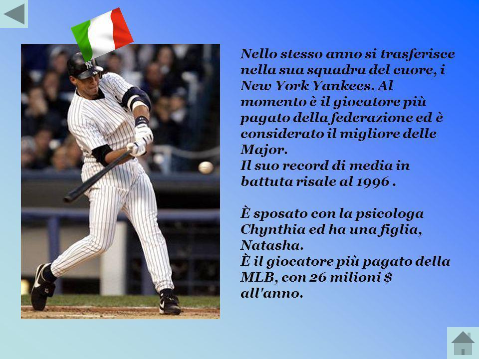 Nello stesso anno si trasferisce nella sua squadra del cuore, i New York Yankees. Al momento è il giocatore più pagato della federazione ed è considerato il migliore delle Major.
