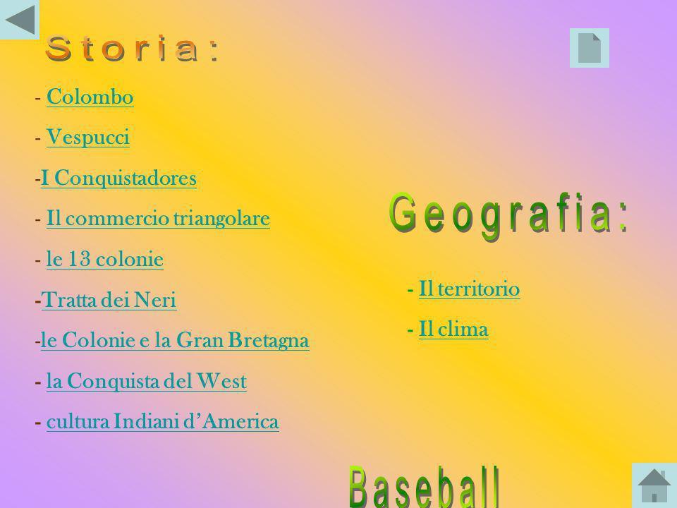 Storia: Geografia: Baseball Colombo Vespucci I Conquistadores