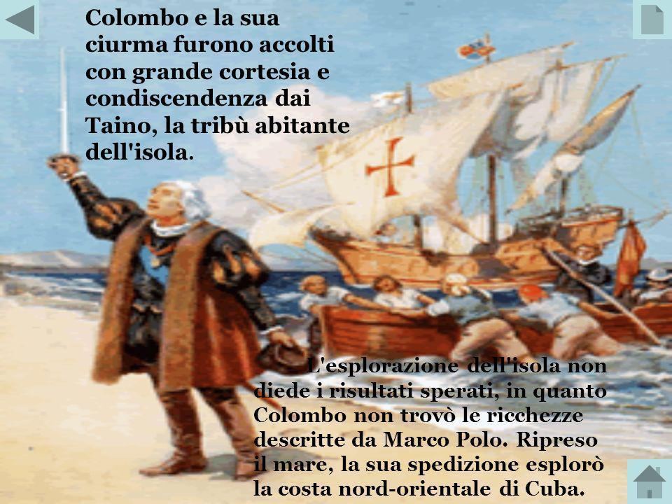 Colombo e la sua ciurma furono accolti con grande cortesia e condiscendenza dai Taino, la tribù abitante dell isola.