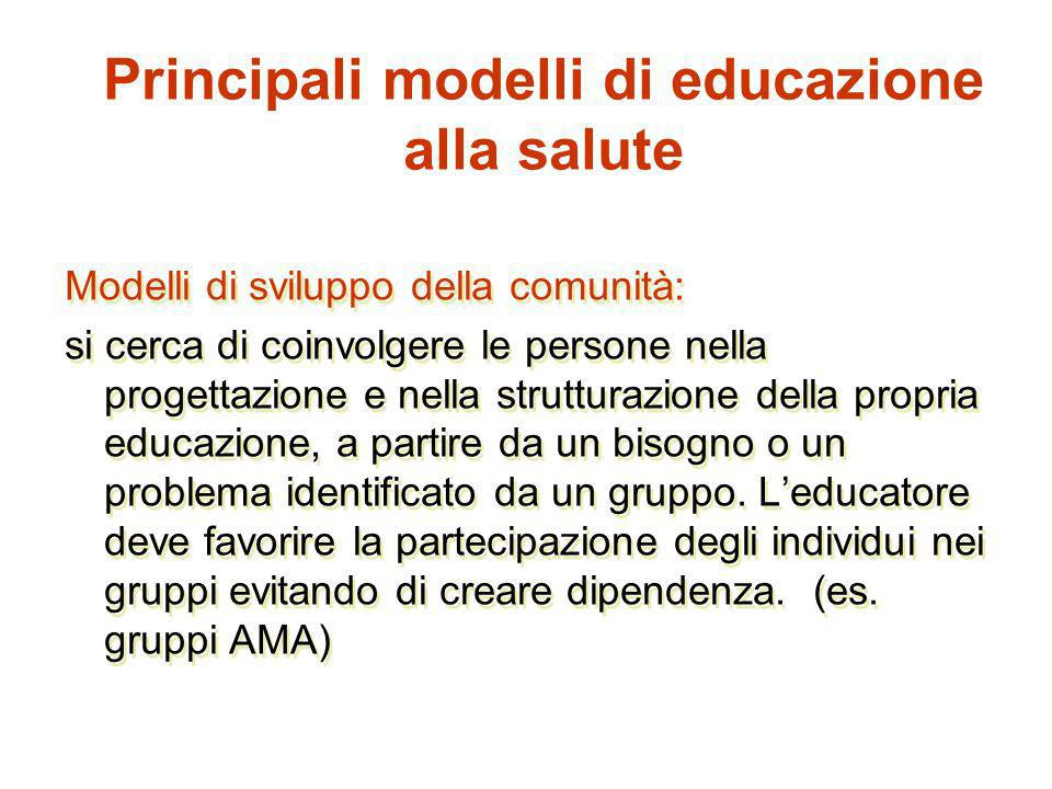 Principali modelli di educazione alla salute