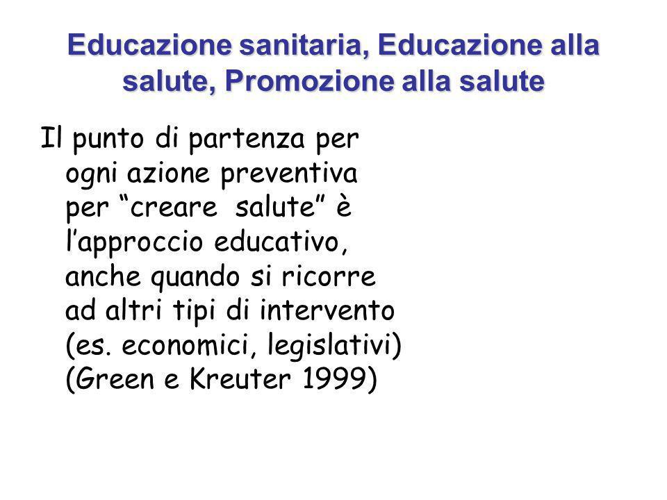 Educazione sanitaria, Educazione alla salute, Promozione alla salute