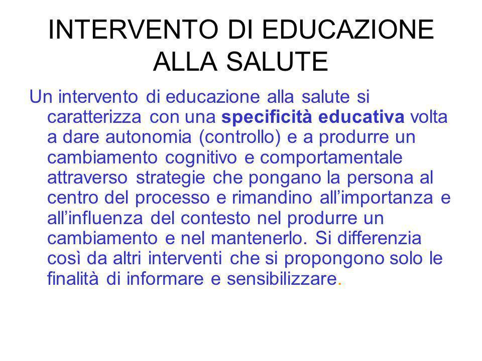INTERVENTO DI EDUCAZIONE ALLA SALUTE