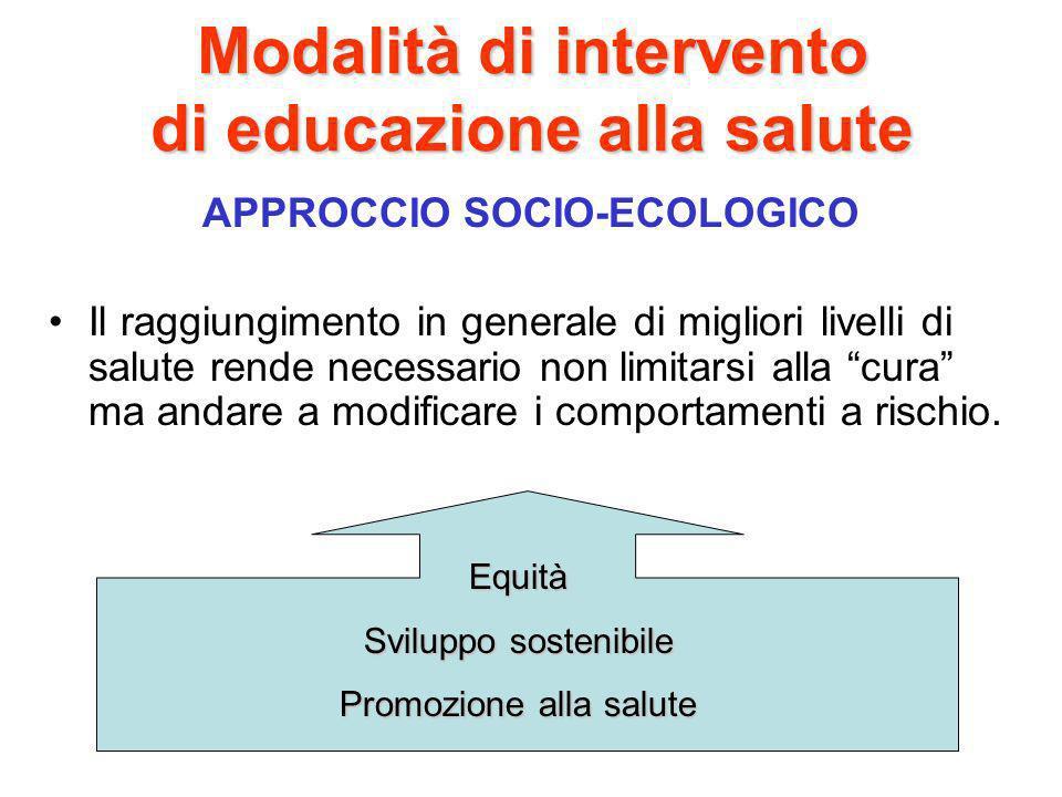 Modalità di intervento di educazione alla salute