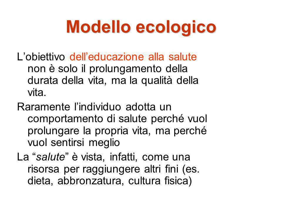 Modello ecologico L'obiettivo dell'educazione alla salute non è solo il prolungamento della durata della vita, ma la qualità della vita.