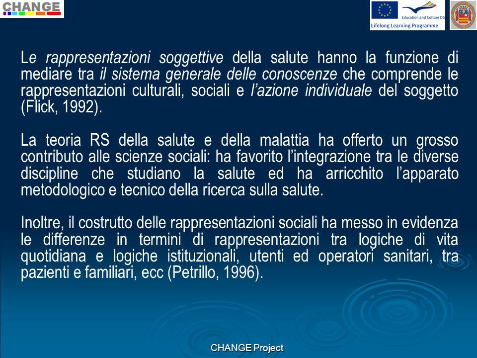 Le rappresentazioni soggettive della salute hanno la funzione di mediare tra il sistema generale delle conoscenze che comprende le rappresentazioni culturali, sociali e l'azione individuale del soggetto (Flick, 1992).