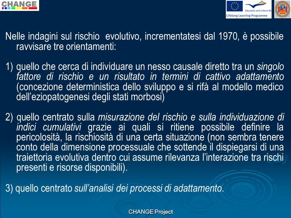 3) quello centrato sull'analisi dei processi di adattamento.