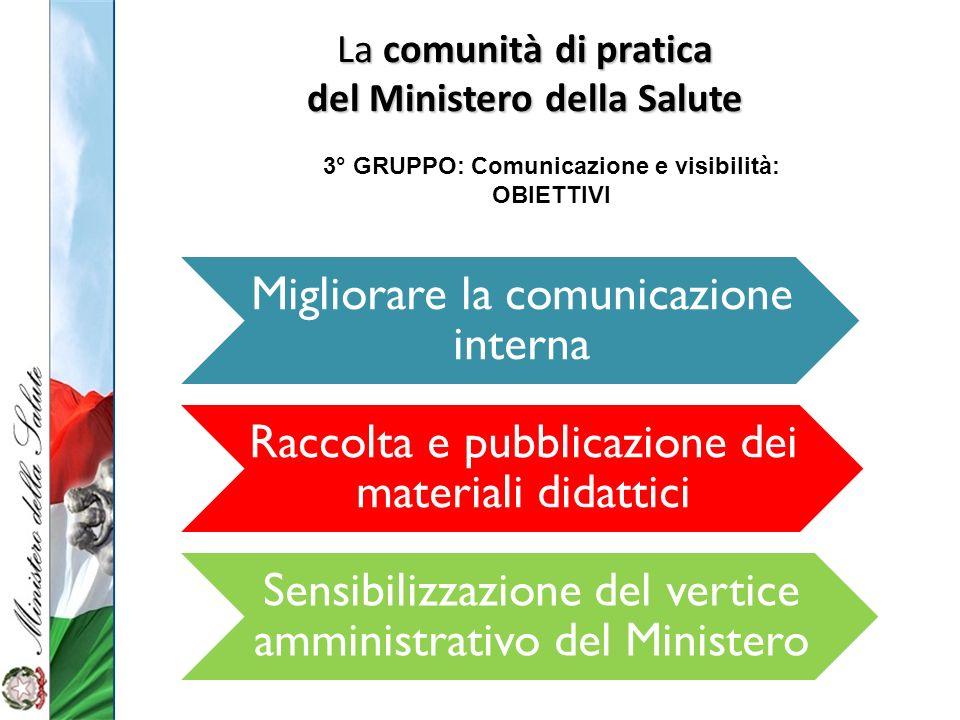 del Ministero della Salute 3° GRUPPO: Comunicazione e visibilità: