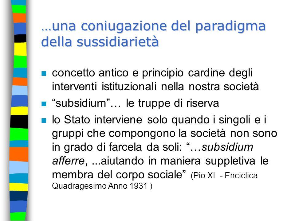 …una coniugazione del paradigma della sussidiarietà