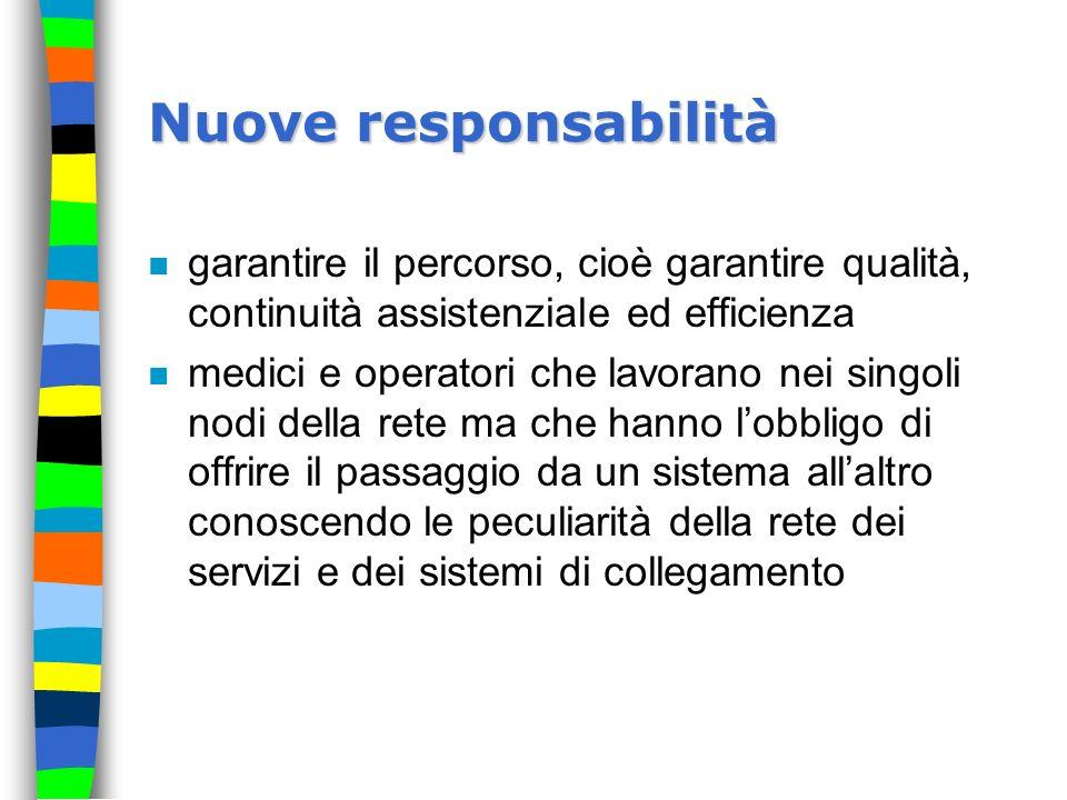 Nuove responsabilità garantire il percorso, cioè garantire qualità, continuità assistenziale ed efficienza.