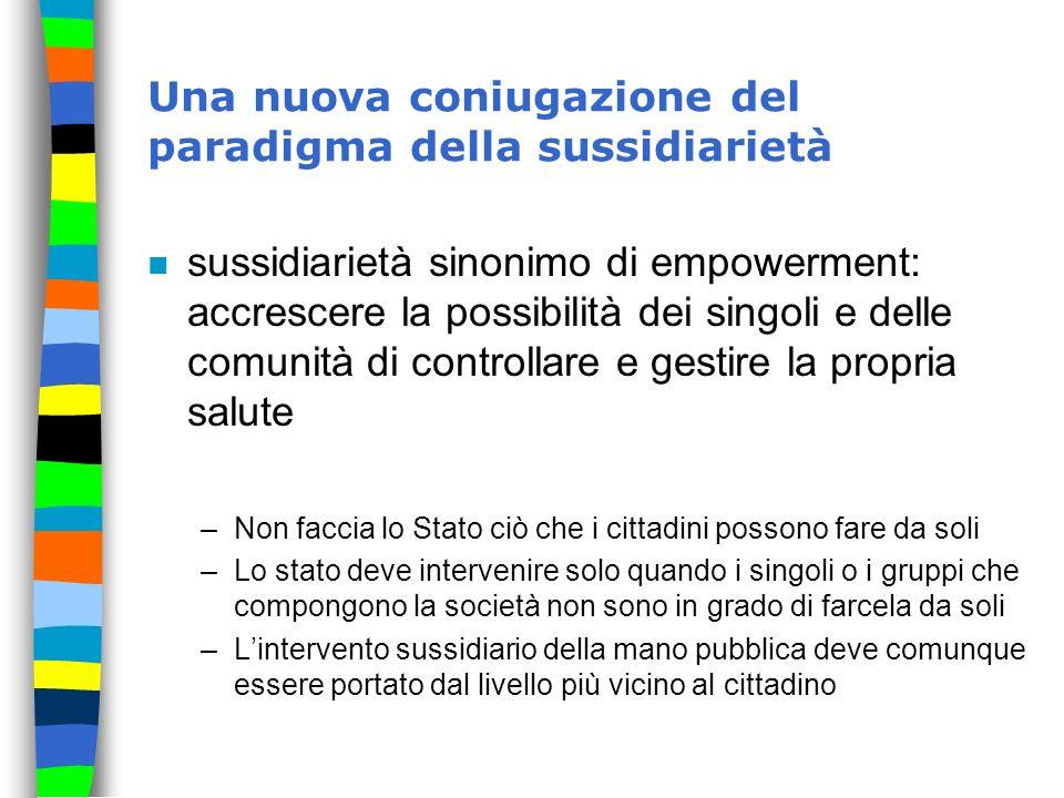 Una nuova coniugazione del paradigma della sussidiarietà