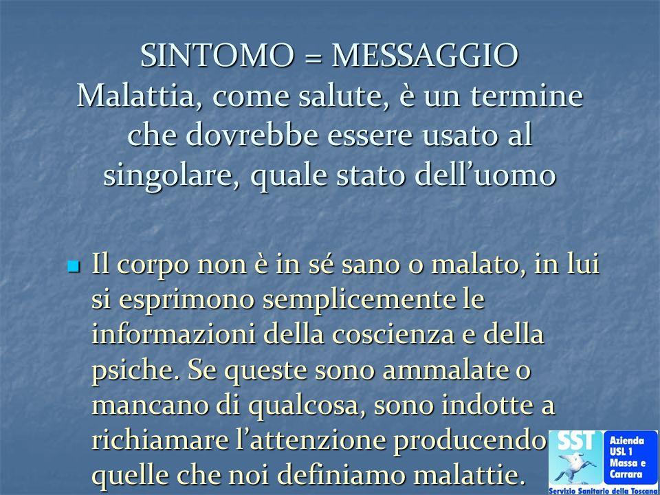 SINTOMO = MESSAGGIO Malattia, come salute, è un termine che dovrebbe essere usato al singolare, quale stato dell'uomo
