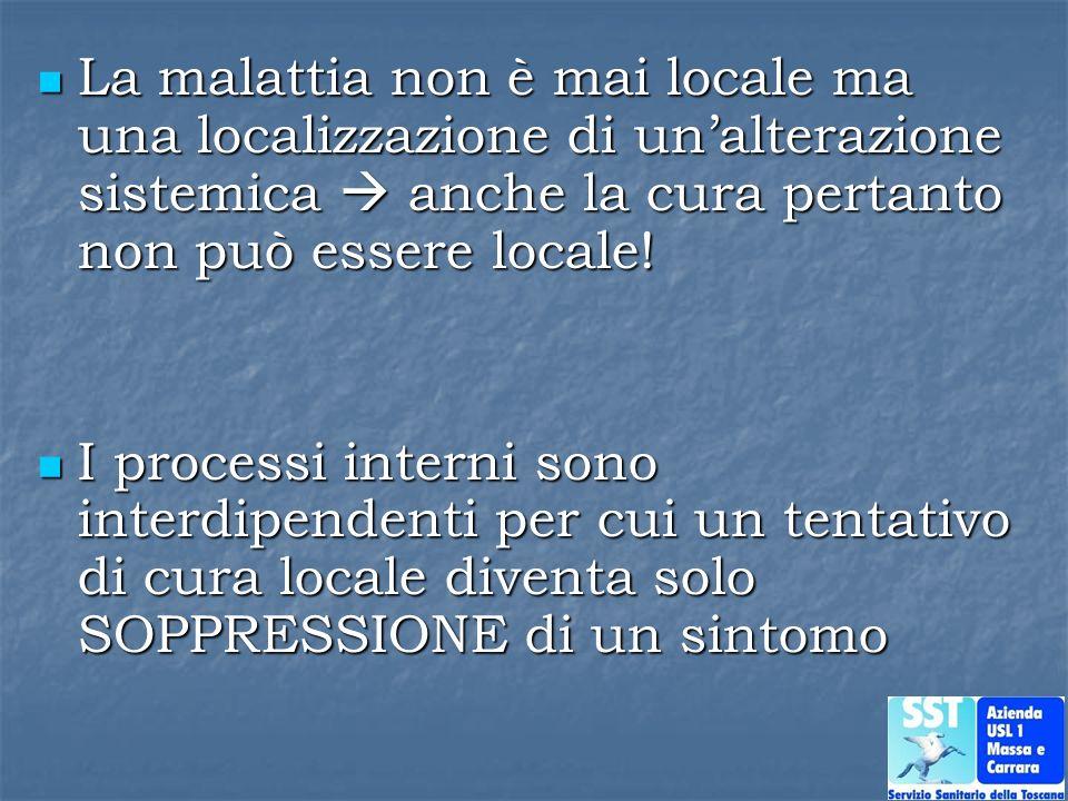 La malattia non è mai locale ma una localizzazione di un'alterazione sistemica  anche la cura pertanto non può essere locale!
