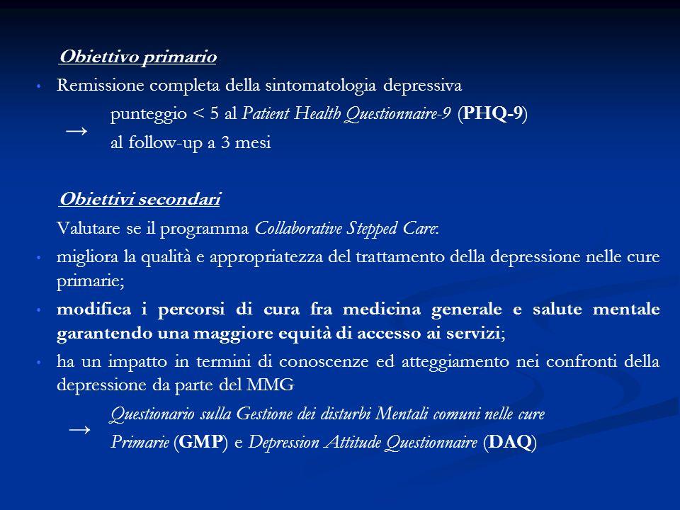Obiettivo primario Remissione completa della sintomatologia depressiva. punteggio < 5 al Patient Health Questionnaire-9 (PHQ-9)