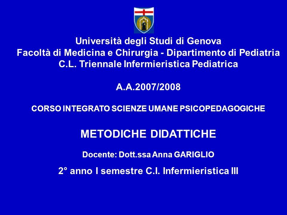 METODICHE DIDATTICHE Università degli Studi di Genova