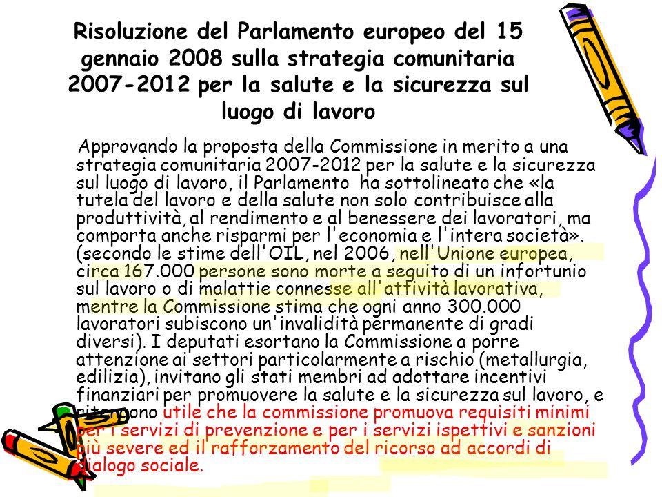 Risoluzione del Parlamento europeo del 15 gennaio 2008 sulla strategia comunitaria 2007-2012 per la salute e la sicurezza sul luogo di lavoro