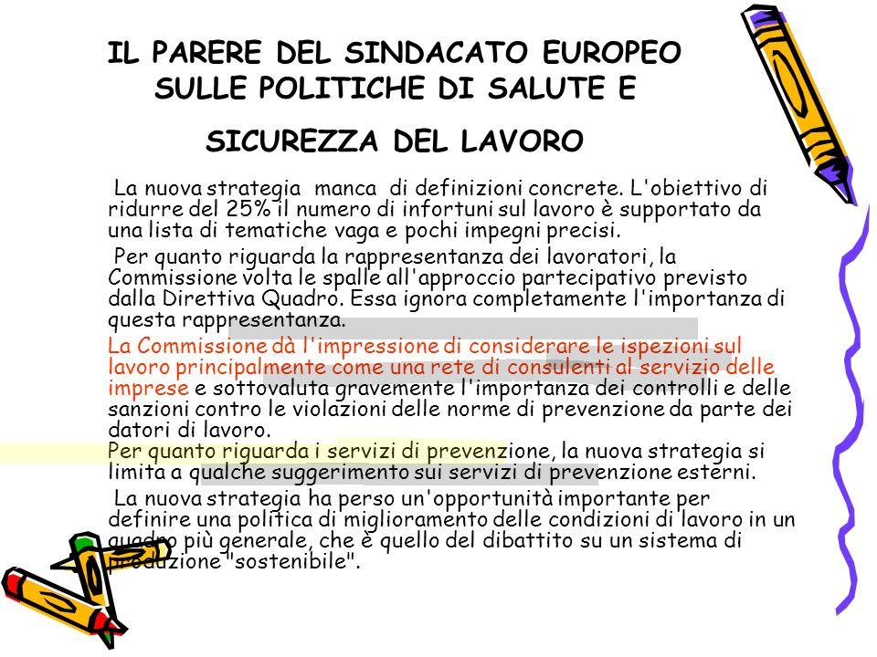 IL PARERE DEL SINDACATO EUROPEO SULLE POLITICHE DI SALUTE E SICUREZZA DEL LAVORO