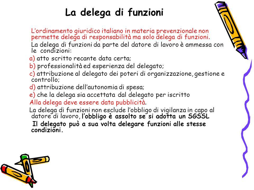 La delega di funzioniL'ordinamento giuridico italiano in materia prevenzionale non permette delega di responsabilità ma solo delega di funzioni.