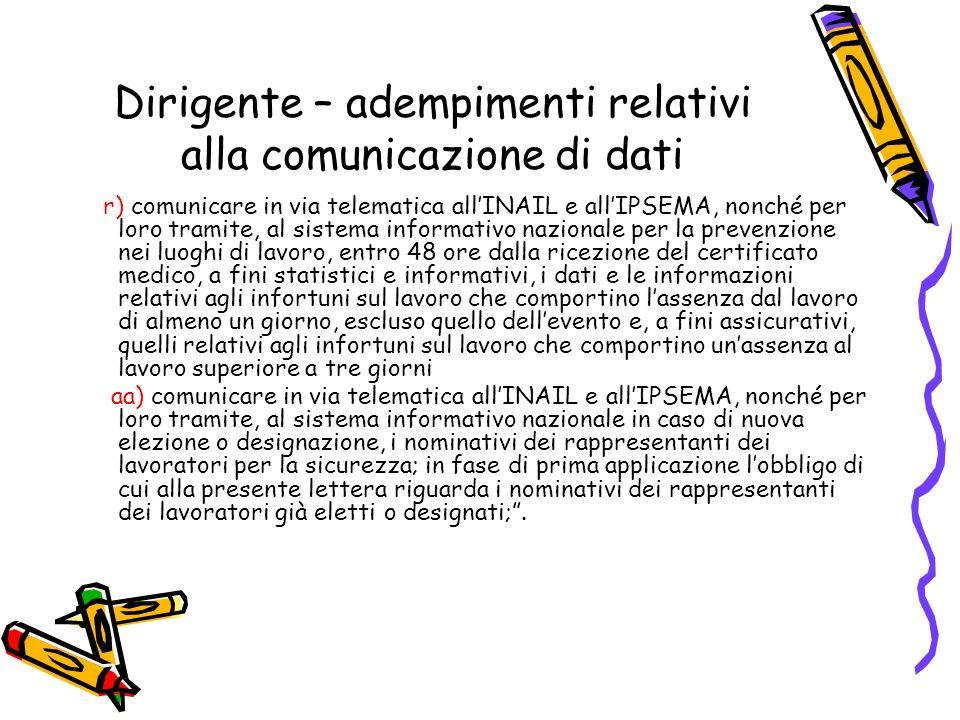 Dirigente – adempimenti relativi alla comunicazione di dati