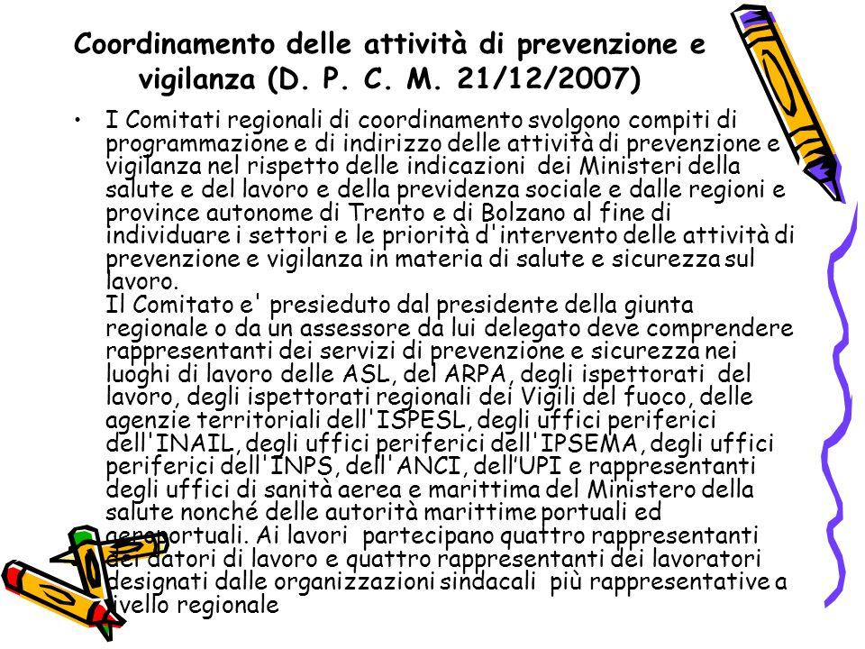 Coordinamento delle attività di prevenzione e vigilanza (D. P. C. M