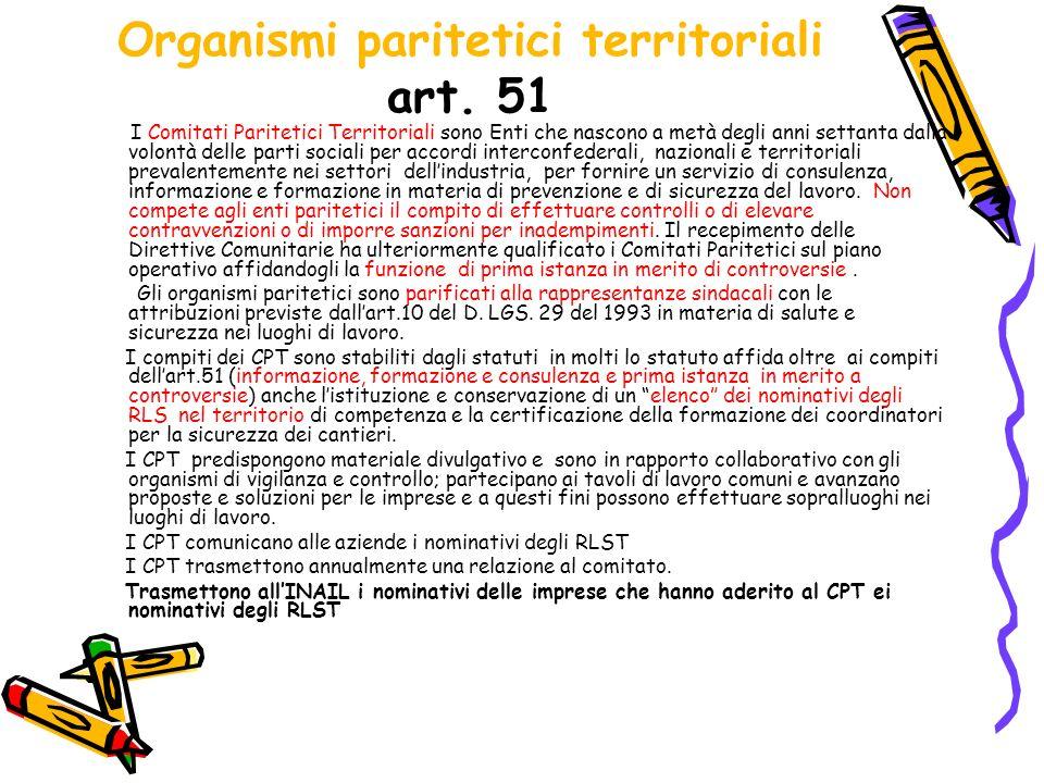 Organismi paritetici territoriali art. 51