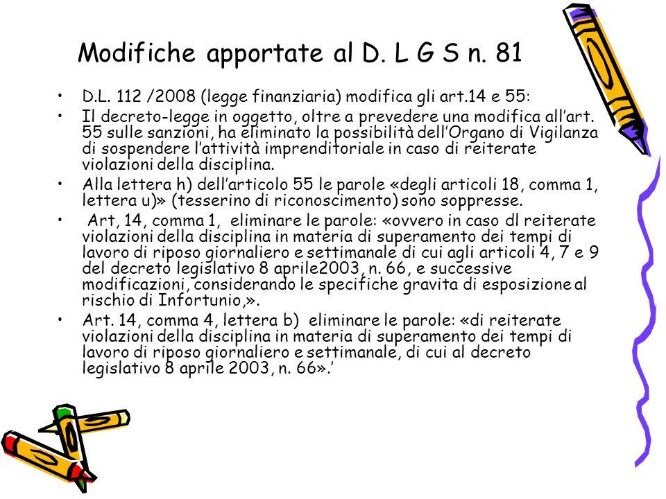 Modifiche apportate al D. L G S n. 81
