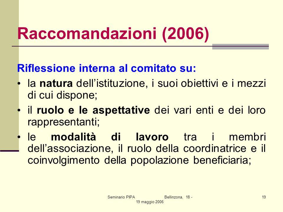 Seminario PIPA Bellinzona, 18 - 19 maggio 2006