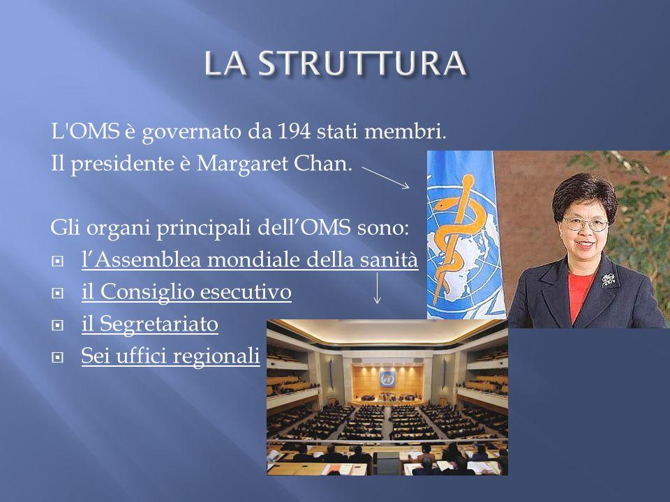LA STRUTTURA L OMS è governato da 194 stati membri.