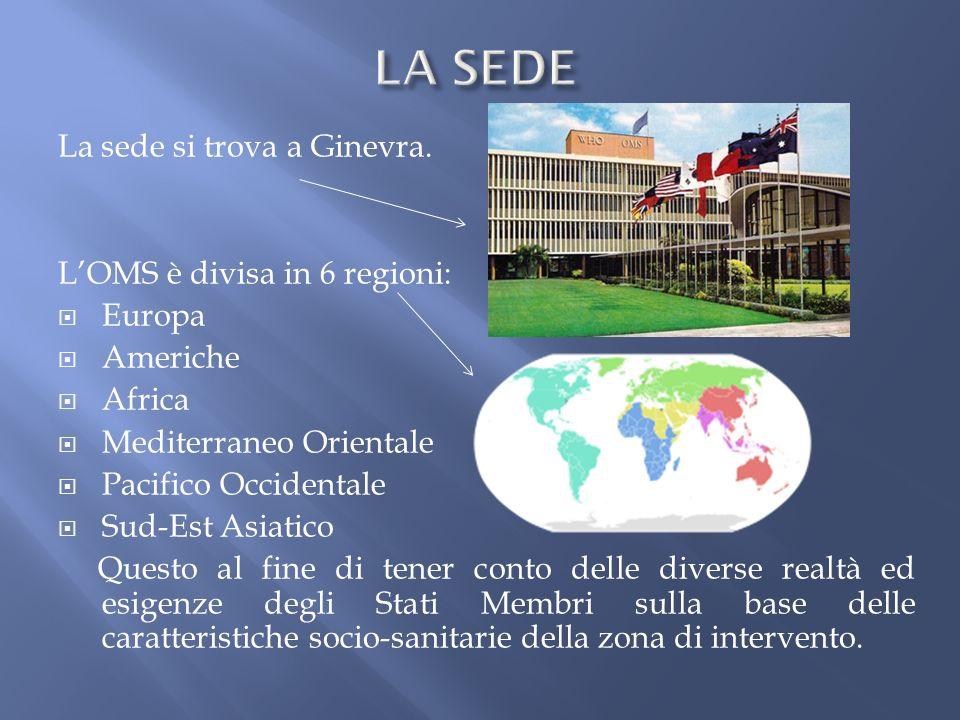LA SEDE La sede si trova a Ginevra. L'OMS è divisa in 6 regioni: