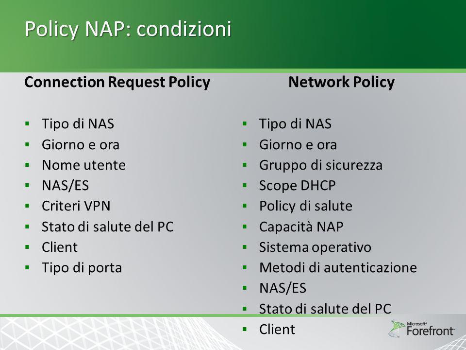 Policy NAP: condizioni