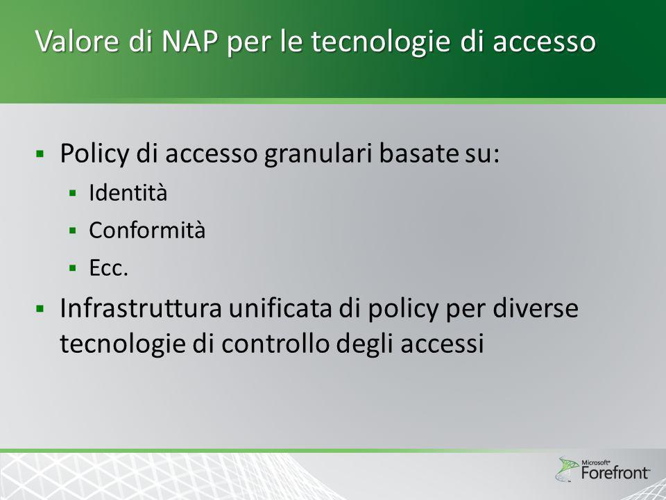 Valore di NAP per le tecnologie di accesso