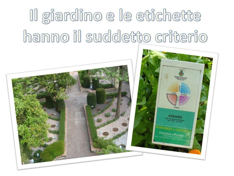 Il giardino e le etichette hanno il suddetto criterio