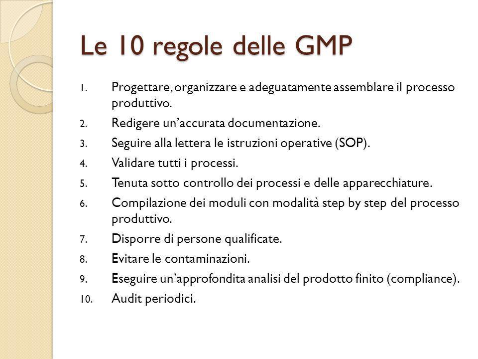 Le 10 regole delle GMP Progettare, organizzare e adeguatamente assemblare il processo produttivo. Redigere un'accurata documentazione.
