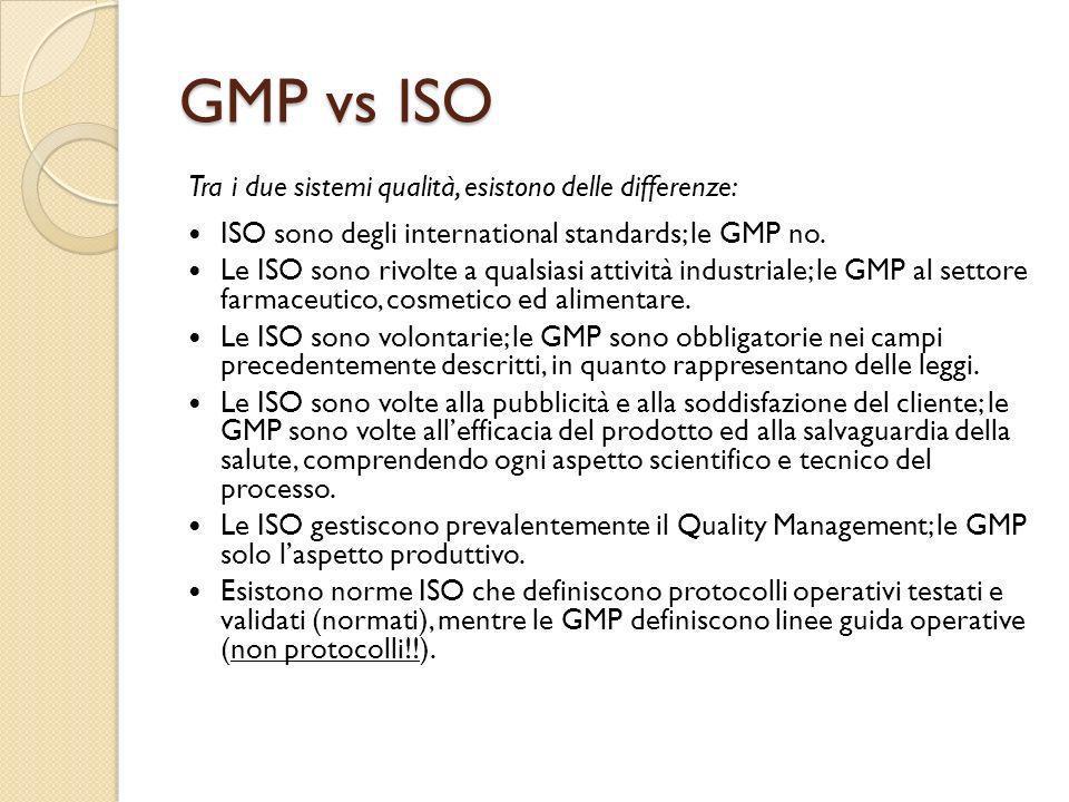 GMP vs ISO Tra i due sistemi qualità, esistono delle differenze: