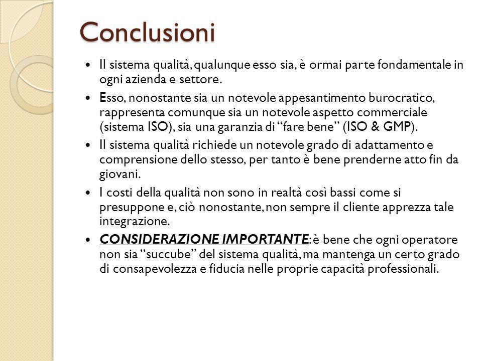 Conclusioni Il sistema qualità, qualunque esso sia, è ormai parte fondamentale in ogni azienda e settore.