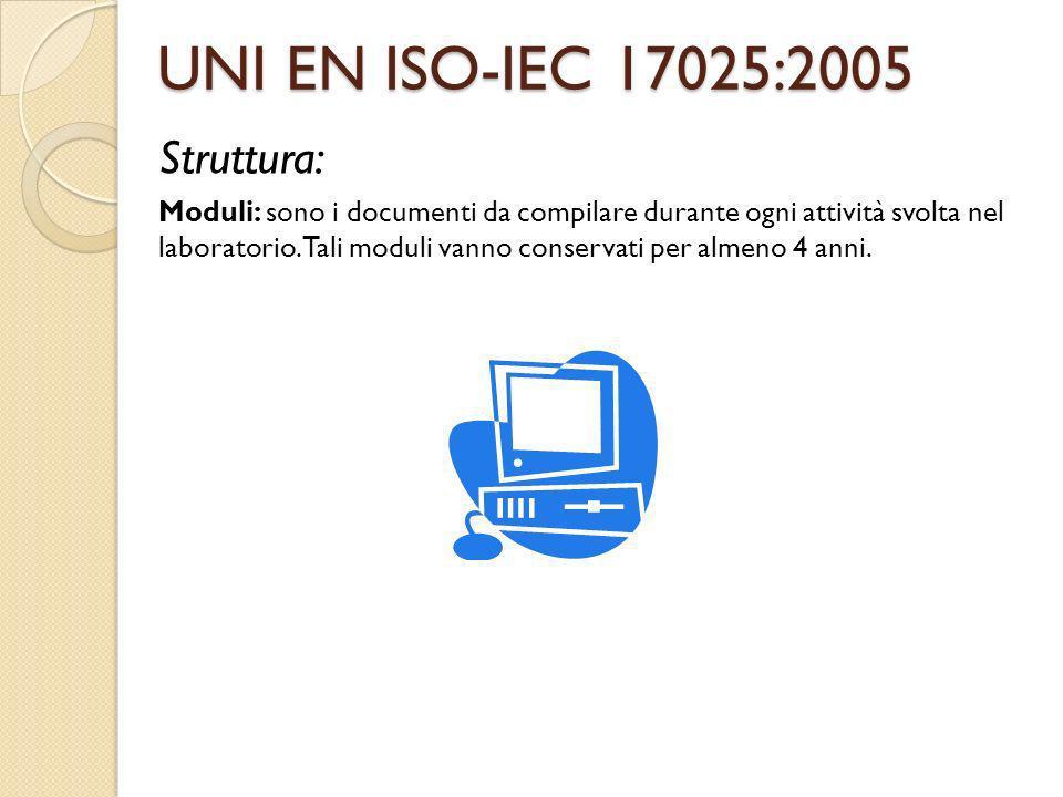 UNI EN ISO-IEC 17025:2005 Struttura:
