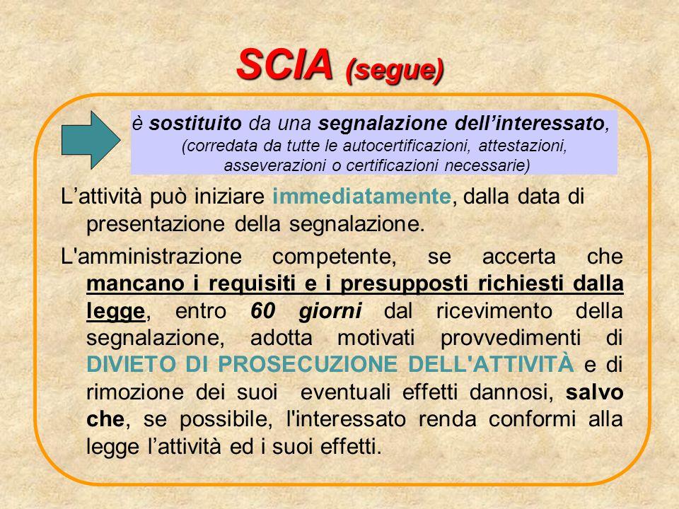 SCIA (segue) L'attività può iniziare immediatamente, dalla data di presentazione della segnalazione.
