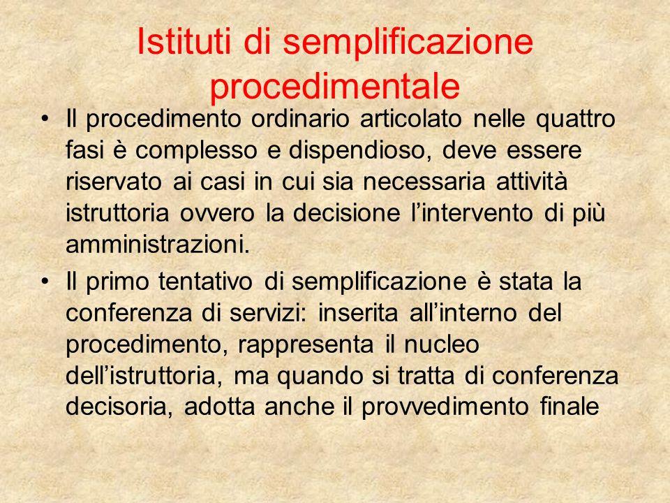 Istituti di semplificazione procedimentale