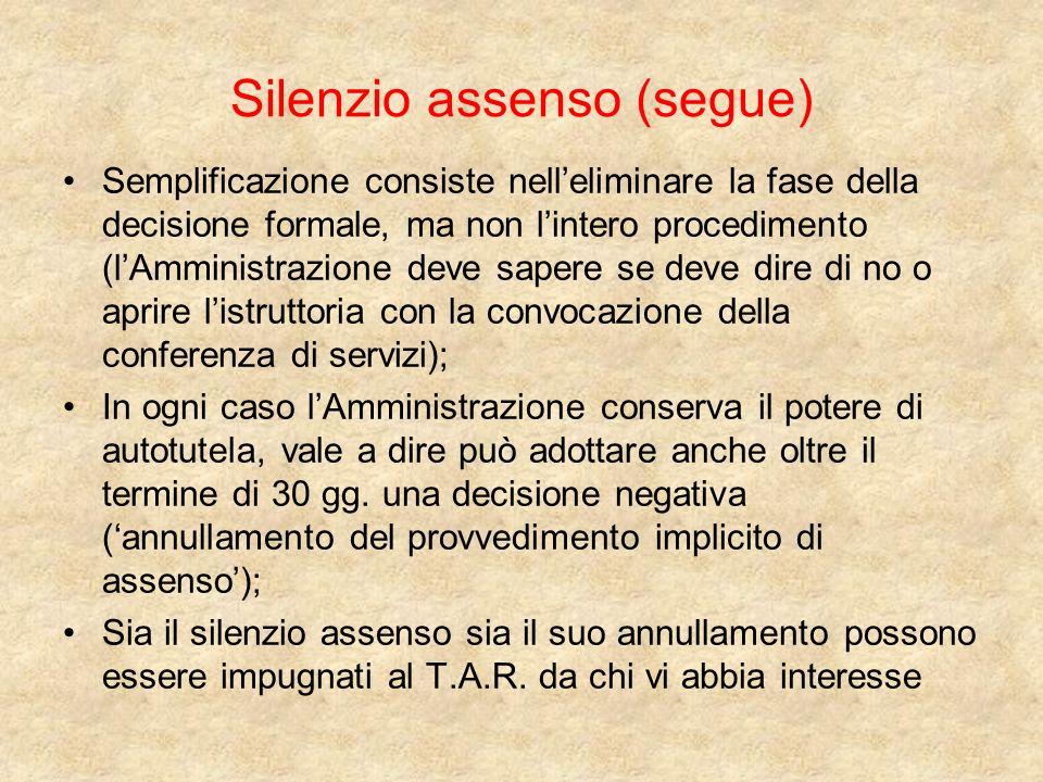 Silenzio assenso (segue)