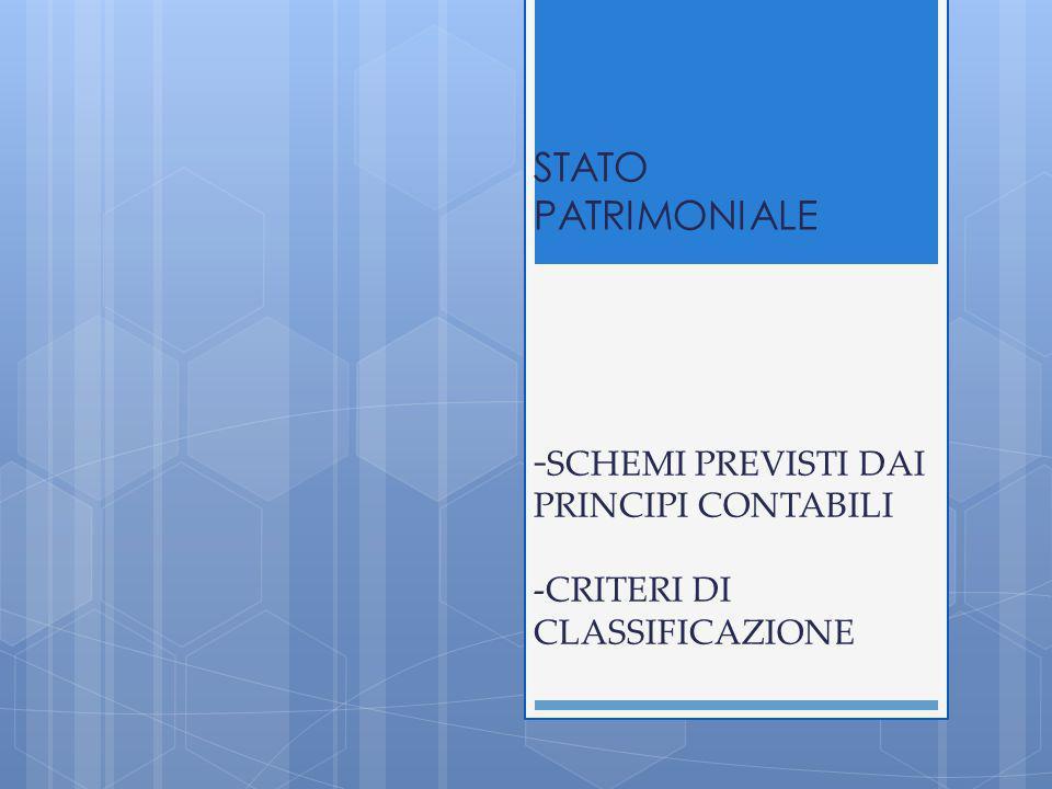 STATO PATRIMONIALE -SCHEMI PREVISTI DAI PRINCIPI CONTABILI -CRITERI DI CLASSIFICAZIONE