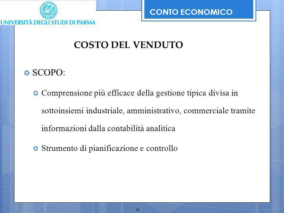 COSTO DEL VENDUTO SCOPO: