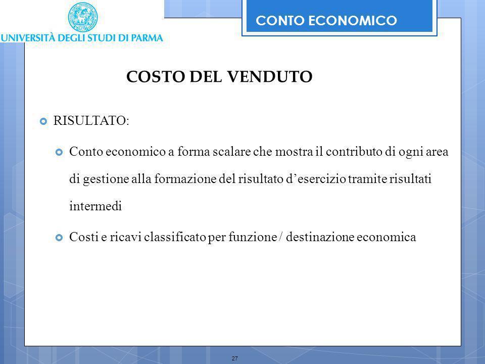 COSTO DEL VENDUTO CONTO ECONOMICO RISULTATO: