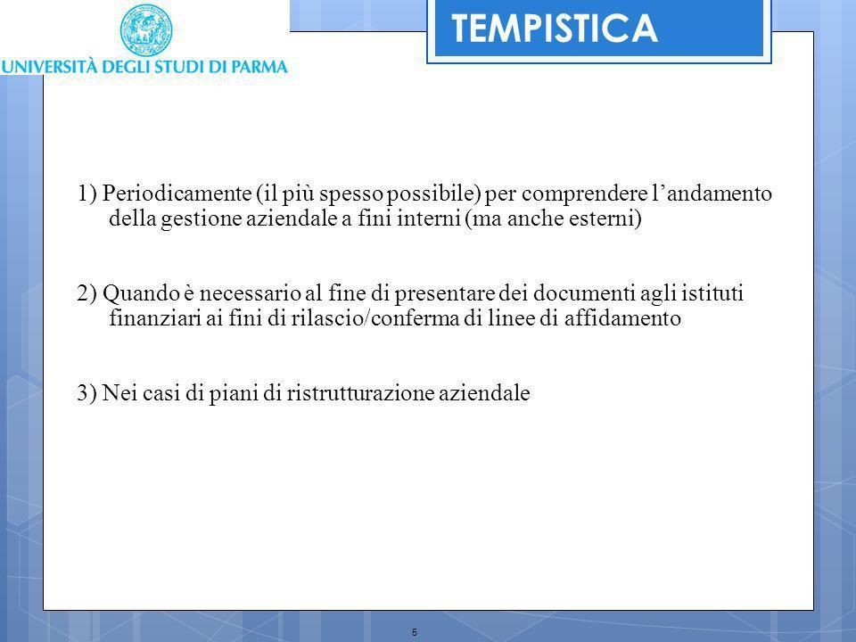 TEMPISTICA 1) Periodicamente (il più spesso possibile) per comprendere l'andamento della gestione aziendale a fini interni (ma anche esterni)