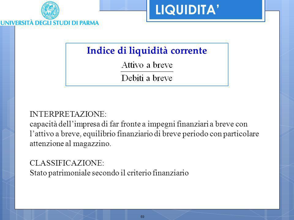 Indice di liquidità corrente
